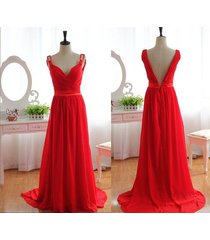 sexy straps v-neck sleeveless red long chiffon backless red bridesmaid dress