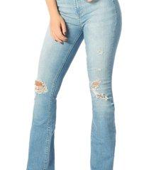 calça jeans denim zero flare média puídos