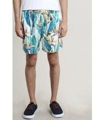 short masculino estampado tropical com bolsos off white