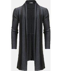 cardigan in lana a media lunghezza drappeggiato con bordo irregolare casual da uomo