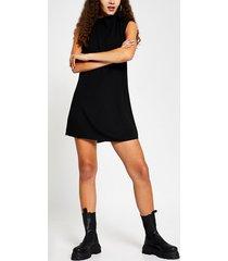 river island womens black drape neck shift mini dress
