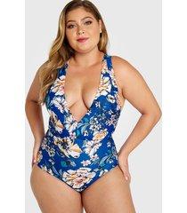 plus talla azul sin espalda diseño estampado floral deep v cuello sin mangas trajes de baño