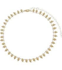 gargantilha choker bolinhas banhada a ouro 18k semijoia lys lazuli feminina - feminino