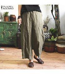 s-5xl zanzea mujeres anchas piernas casual floja de gran tamaño harem pantalones holgados -verde