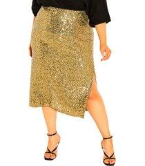 plus size women's city chic bronzed sequin skirt, size large - metallic
