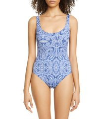 women's etro paisley print one-piece swimsuit, size 4 us / 40 it - blue