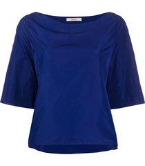 odeeh boat neck blouse - blue