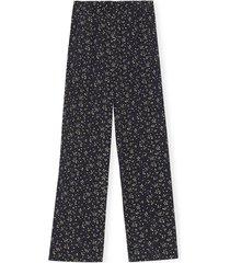 printed crepe pants in black