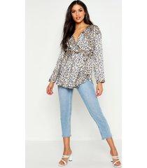 tall woven leopard wrap tie waist blouse, beige
