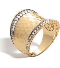 women's john hardy hammered saddle ring with diamonds