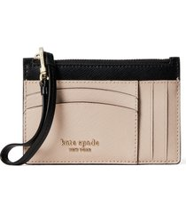 women's kate spade new york spencer leather wristlet card case - beige