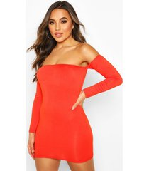 petite off the shoulder long sleeve bodycon dress, orange