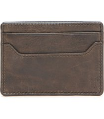 men's frye logan leather money clip card case - grey