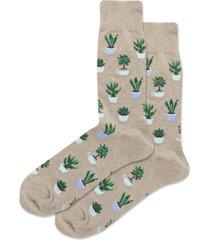 hot sox men's potted succulents crew socks