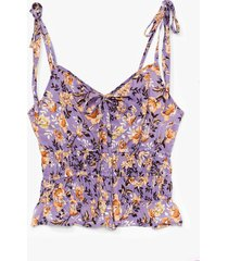womens tie your best floral cami top - lilac