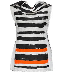 striped top with fringed details