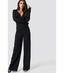 dilara x na-kd long sleeve wrap front jumpsuit - black