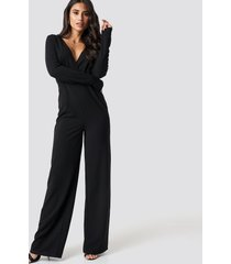 dilara x na-kd long sleeve wrap front jumpsuit - black