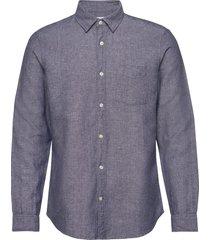 button-front shirt in linen-cotton skjorta casual blå gap
