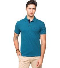 camisa polo piquet tony menswear com elastano e estampa figurativa azul esverdeado