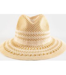 nancy stripe fedora hat - ivory
