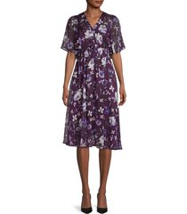 calvin klein women's floral chiffon shirred-waist dress - purple multi - size 2