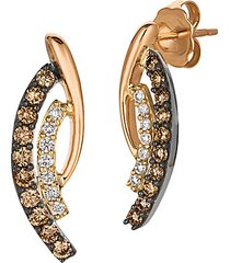 chocolatier® 14k tricolor gold, chocolate diamonds® & vanilla diamonds® curved drop earrings