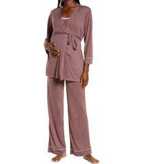women's belabumbum lacey maternity/nursing pajamas, size 4 x - pink