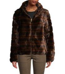 donna karan new york women's faux fur jacket - brown - size xs