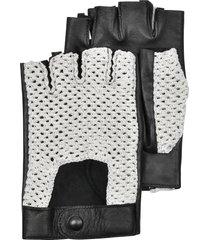 forzieri designer men's gloves, black leather and cotton men's driving gloves