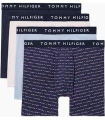 tommy hilfiger men's cotton stretch boxer brief 4pk vintage indigo/eventide/logo print on navy/pale lilac - xxl
