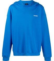 we11done drop shoulder hoodie - blue