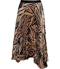 logan tiger-print asymmetric pleated midi skirt