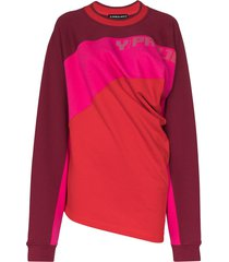 y/project twisted-front colour-block jumper - red