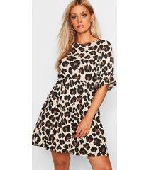 plus gesmokte luipaardprint jurk, geelbruin