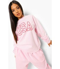 petite oversized usa sweater, light pink