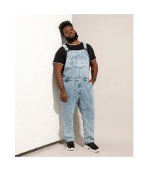 macacão jeans masculino plus size marmorizado com bolsos azul médio