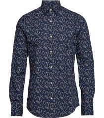 d1. harvest print slim town overhemd business blauw gant