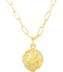 14k goldplated sterling silver lion head pendant necklace