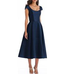 women's alfred sung cap sleeve full skirt satin midi cocktail dress, size 2 - blue