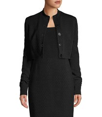 elie tahari women's gracie jacquard cropped jacket - black - size 0