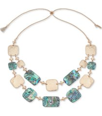 """lonna & lilly gold-tone square & stone 28"""" adjustable statement necklace"""