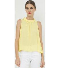 bluzka bez rękawów z plisą żółta