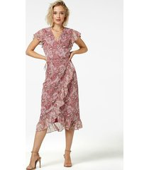 freebird flower-pes-01 midi dress short sleeve rosy midi burgundy