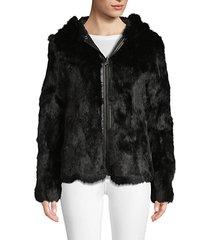 reversible rabbit fur & quilted nylon jacket