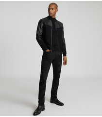 reiss ali - leather paneled bomber jacket in black, mens, size xxl