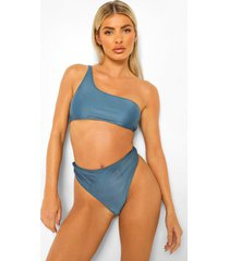 mix & match bikini broekje met hoge taille, petrol