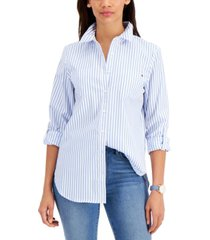 tommy hilfiger striped pleat-back cotton shirt, created for macy's