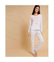 pijama feminino listrado manga longa marisa