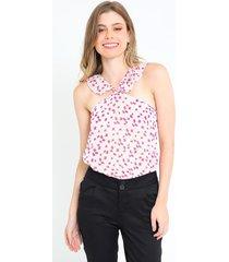 blusa estampada manga sisa diseño arandela para mujer 86556cl
